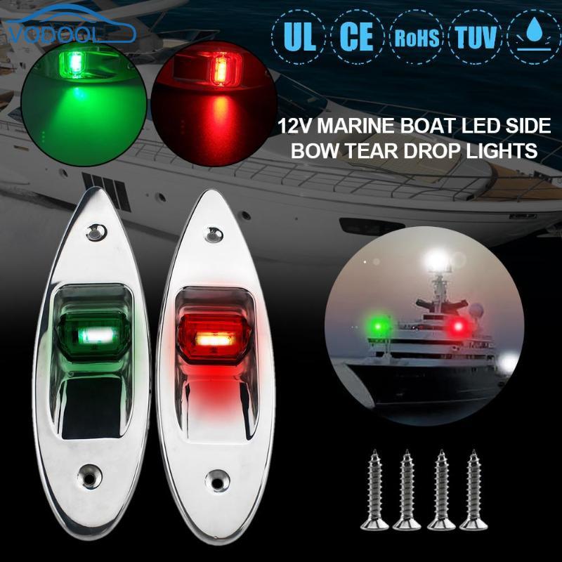 2 pièces universel 12 V encastré bateau marin RV LED feux de Navigation latéraux 1 W/par rouge vert acier inoxydable étanche éclairage