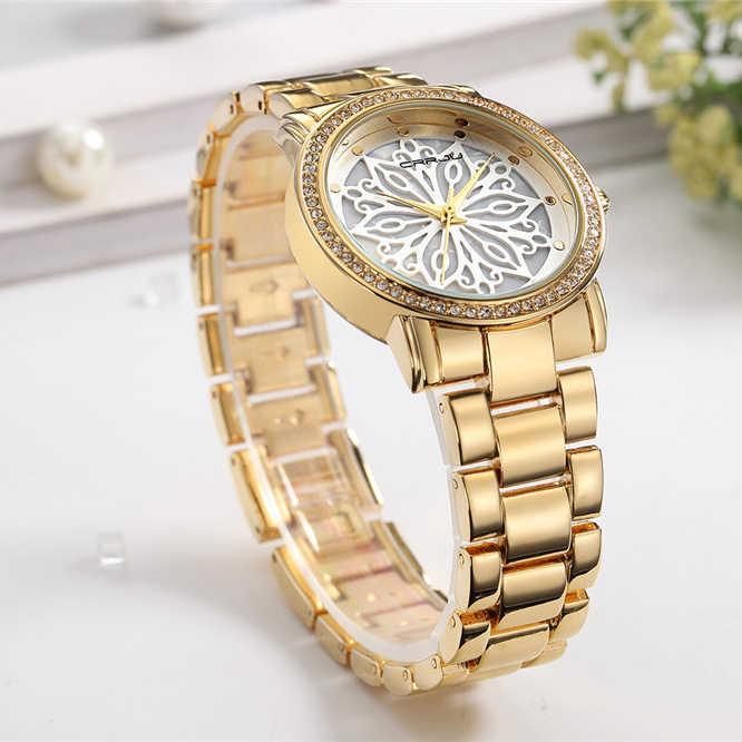 Новинка 2019 года Crrju роскошное платье модный бренд часы женские золотые Diamond Relogio женское платье Женский Relojes Mujer