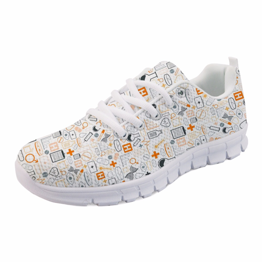 INSTANTARTS Personalized Air Mesh Lady Flat Shoes Summer Breathable Walk Sneaker Shoes Cartoon Nurse Print Women Sneakers Flats forudesigns women casual sneaker cartoon cute nurse printed flats fashion women s summer comfortable breathable girls flat shoes