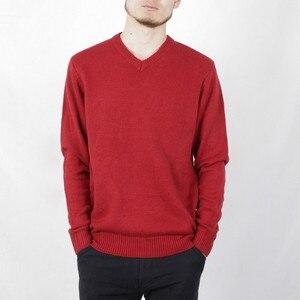 Весенне-осенняя однотонная мужская одежда с v-образным вырезом, пуловер, вязаный свитер, пальто, Мужской трикотажный джемпер с длинным рукав...