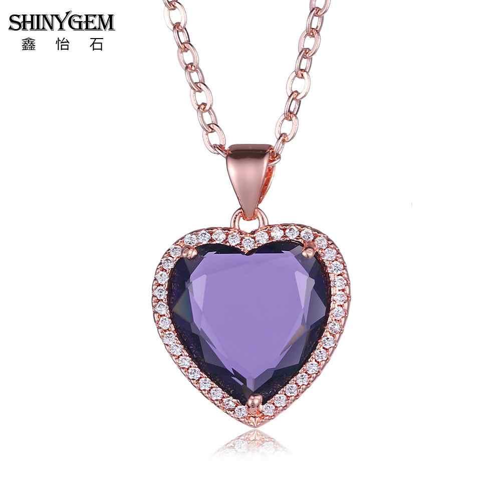 ShinyGem Rose Gold Charm จี้สร้อยคอคริสตัลคริสตัลหัวใจสร้อยคอ Micro Pave Zircon สร้อยคอแฟชั่นสตรี