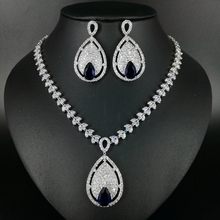 NEW Luxury fashion big water drop blue zircon necklace earrings sets bride wedding formal dress banquet  jewelry free shippi