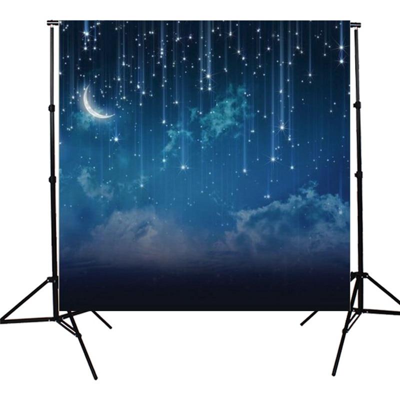 Fond de photographie personnalisé de nuit d'étoile de paillettes de lune de ciel bleu de 10x10FT pour des arrière-plans photographiques d'accessoires de Photo de Studio