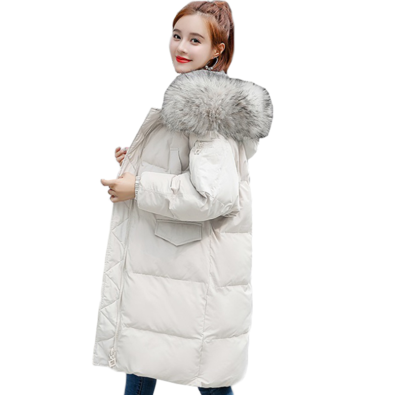 Parka Women 2019 Thick Warm Hooded Fur Collar Cotton Padded Long Outerwear Plus Size Female Winter