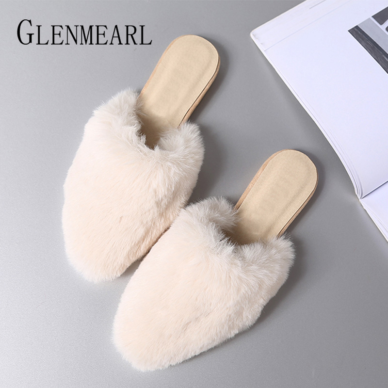 Women Slippers Mules Shoes Winter Fur Slip On Flat Casual Shoes Woman Pointed Toe Indoor Shoes Warm