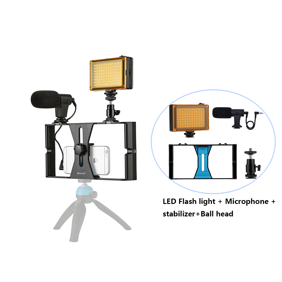 US $11 4 40% OFF|Handheld Stabilizer Tripod LED Flash Light Microphone For  Iphone Android Phones/Recording/Photography Stand Video Live Steadicam-in