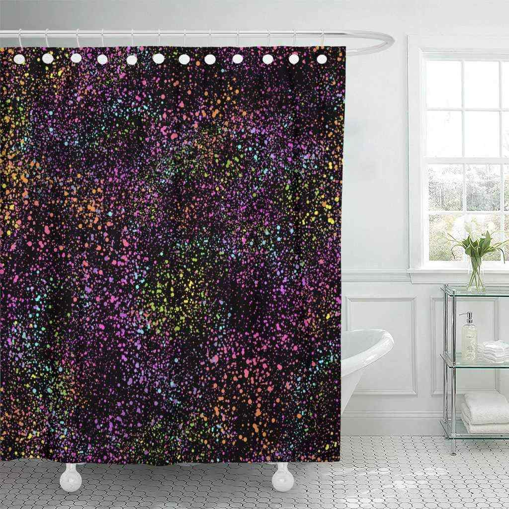 Shower Curtain With Hooks Neon Pattern With Colorful Blots Paint Dot Splash Graffiti Bright Modern Spray Decorative Bathroom
