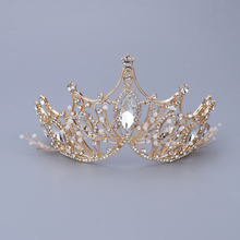 Women Tiara Golden Crystals Crown for Bride Queen Princess Birthday Pageant Prom Diadem Tiaras for Bride Wedding Hair Accessory