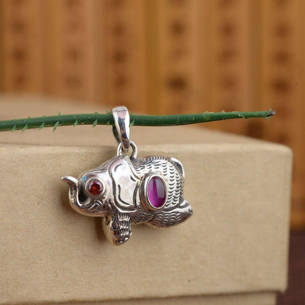 FNJ 925 argent éléphant pendentif nouvelle mode rouge Zircon pierre Original S925 Thai argent pendentifs pour femmes hommes fabrication de bijoux
