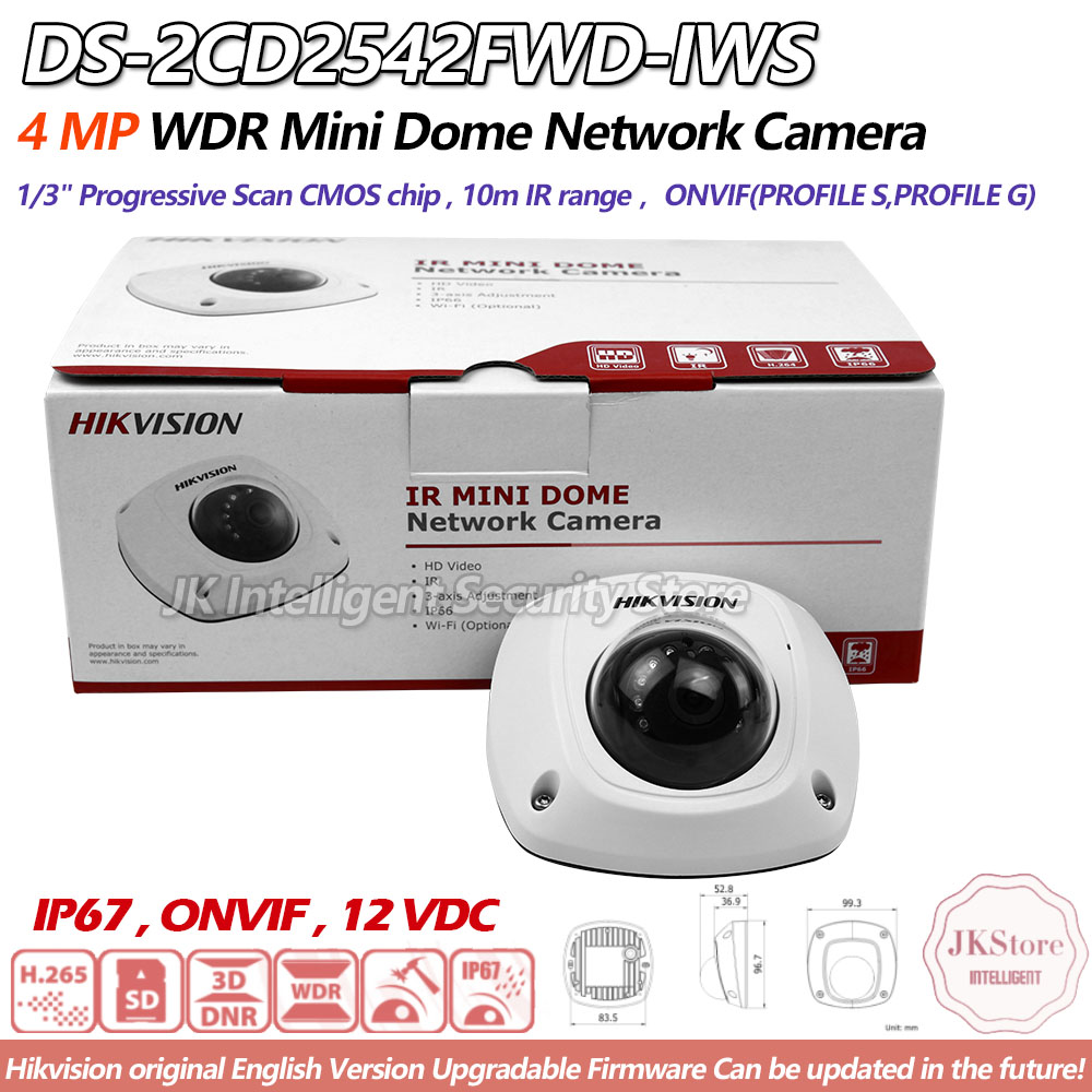 Hikvision DS 2CD2542FWD IWS English Version housing Ip Camera Wi fi Dome Camera POE Security Elevator