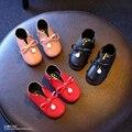 YNB Primavera Outono Crianças Bebé PU Calçados com Charme e Arco, crianças Sapatilhas Meninas Sapatos Princesa Rosa Preto Vermelho EUA 6 ~ 8