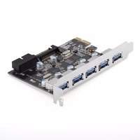 5 Ports USB 3 0 PCI E PCI Express PCI Expansion Card Host Card Hub Controller
