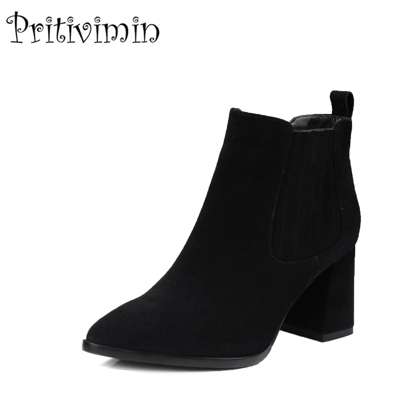 2018 New ladies high quality lined warm winter shoes woman genuine leather thick high heels autumn ankle boots Pritivimin FN119