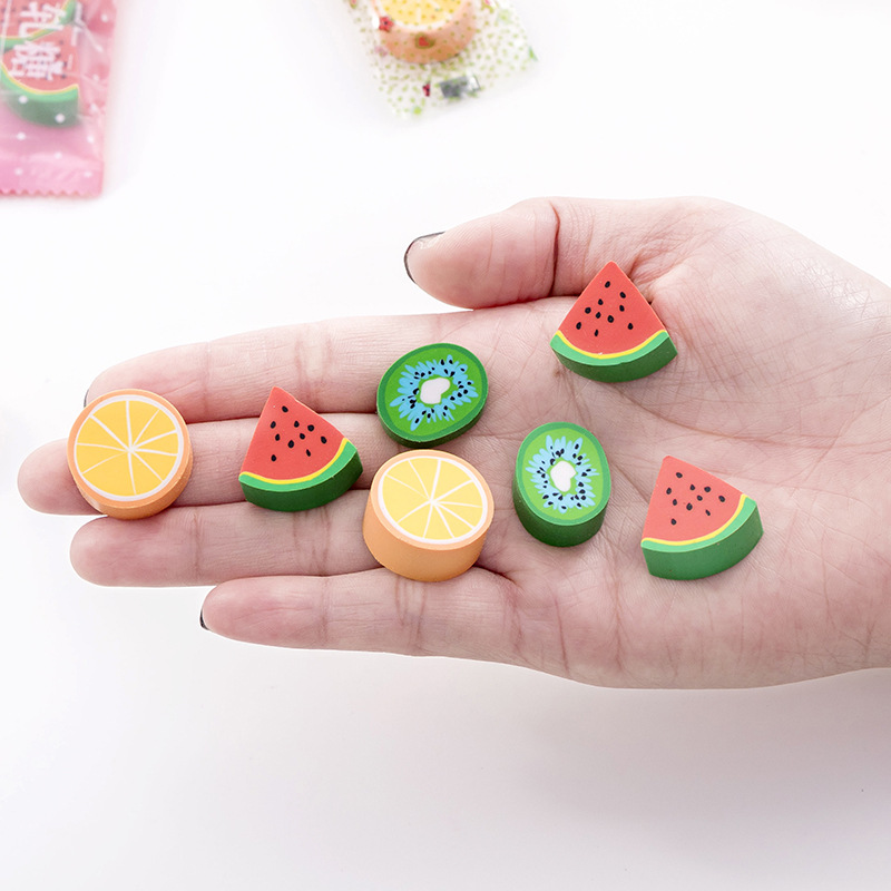 3pcs Creative Stationery Fruit Candy Style Rubber Kawaii Cartoon Pencil Erasers Office School Supplies Kids Prize Cute Gifts