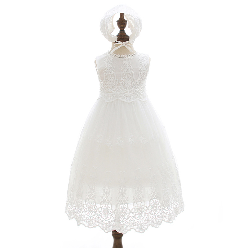 Long Baby Christening Gown White Baptism Dress with Bonnet Hat Newborn Beaded Tulle Dresses Long Embroidered Lace Frock