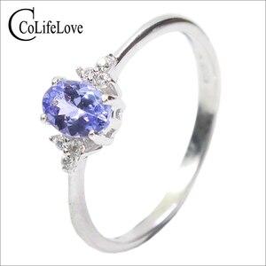 Image 1 - ファッションシルバー宝石結婚指輪女性のための 4*6 ミリメートル完璧な天然マリンタンザナイトシルバーリング固体 925 シルバータンザナイトリング