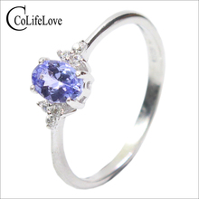 Fashion silver gemstone wedding ring for woman 4*6mm flawless natural tanzanite solid 925