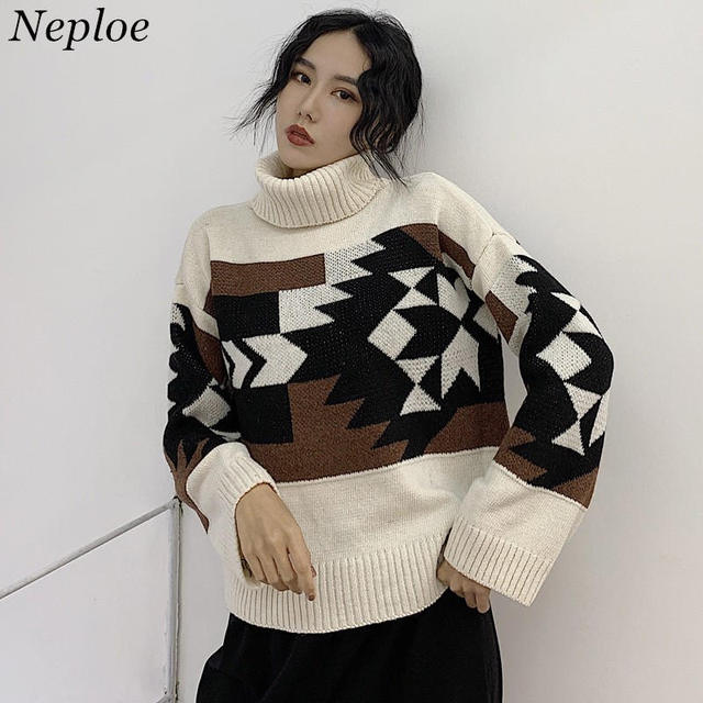 f5c4ad1190 Neploe Pull Femme Vintage Turtleneck Pullover Sweater 2019 New Geometric  Pattern Knitting Tops Women Long Sleeve