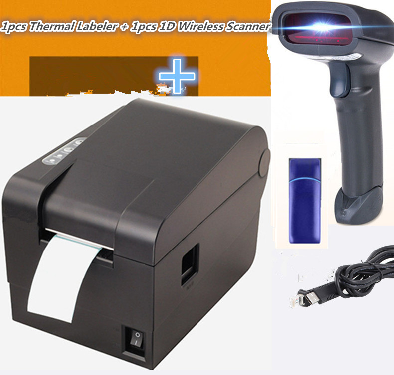 NEW1D Wireless barcode Scanner+ clothing tag 58mm Thermal barcode printer sticker printer Qr code the non-drying label printer