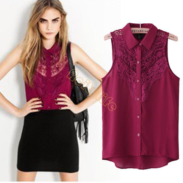 New 2014 Summer Fashion Tops Casual Sleeveless Plus Size Lace ...