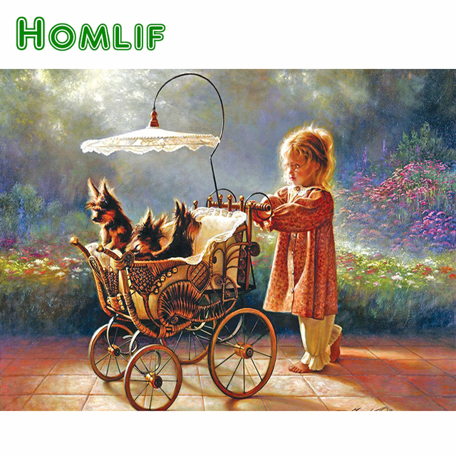 HOMLIF Full Diamond Embroidery Mosaic Baby Girl & Pte Dogs 5D Cross Stitch Full Drill Diamond Painting DIY Sticker Decor Cartoon
