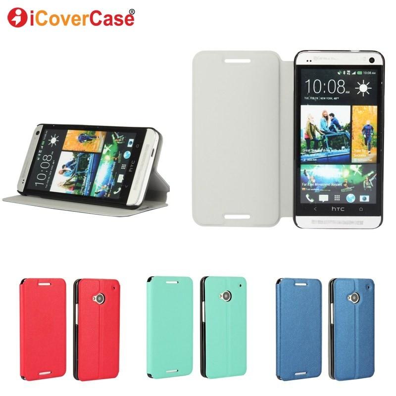 Para htc m7 caso cubierta de cuero del soporte del tirón del teléfono celular ca