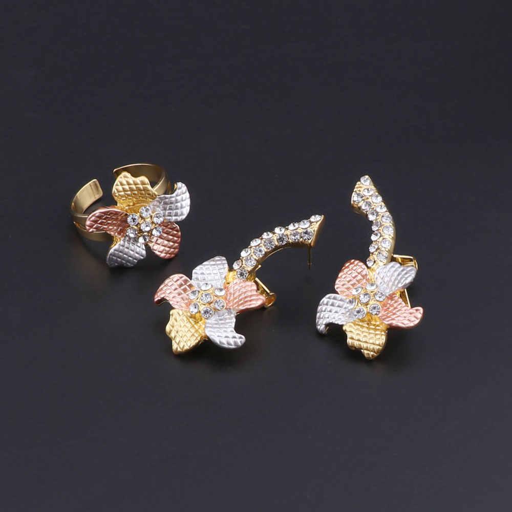 Cynthia alta qualidade italiana moda feminina noiva casamento cor do ouro jóias colar pulseira anel brincos conjuntos de jóias de cristal