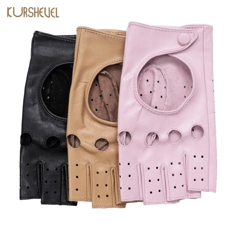 KURSHEUEL Top Quality Women Gloves Female Driving Genuine Leather Glove Ladies Pink Black Fingeless Goatskin Mittens AGB574