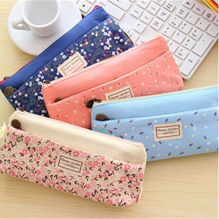 4 Colour Double Zipper Pencil Cases Pencils Portable Student Stationery Storage Pencil Bag for School Office Supplies 1 pcs