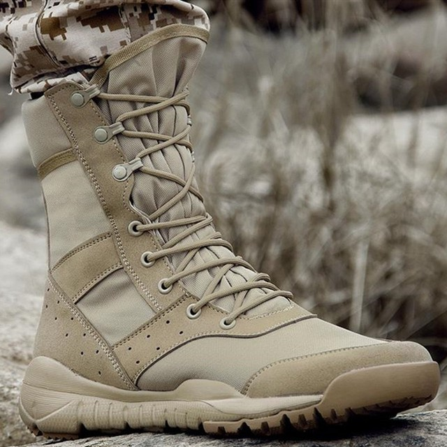 Summer Outdoor Sports Breathable Combat Boots Army Fans Training Mesh Lightweight Military Boot Climbing Hunting High Top Shoes 2