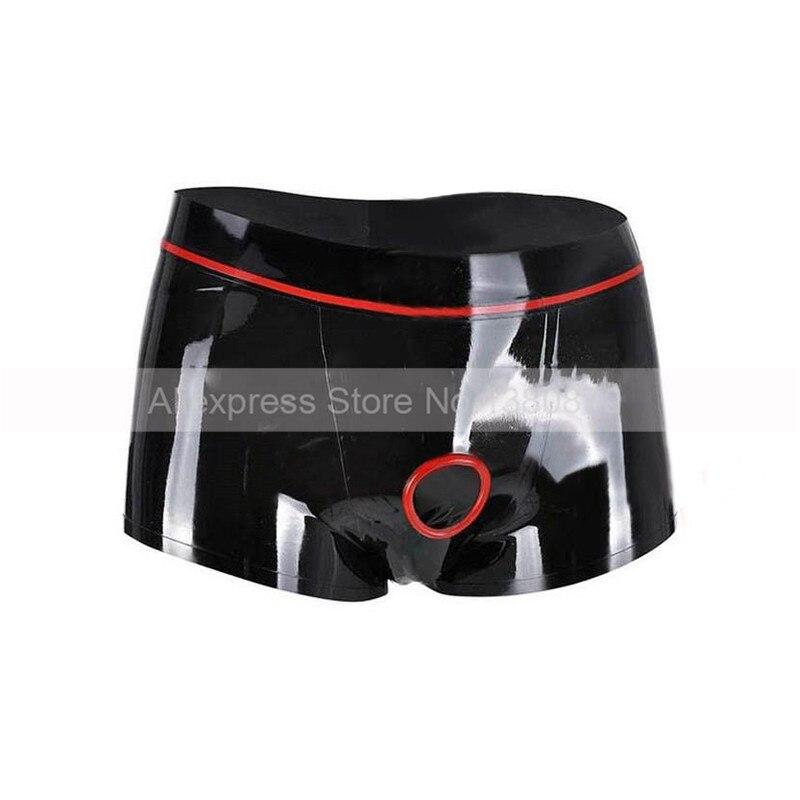 En caoutchouc Latex Mâle Boxer Culottes Serrés avec Avant Pénis Trou Anneau Homme Sous-Vêtements S-LPM096