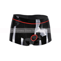 Rubber Latex Male Boxer Shorts Tight Panties with Front Penis Hole Ring Man Underwear S LPM096