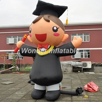 Free shipping 3mH giant inflatable student model inflatable graduate girl boy with academic dress for graduation ceremony