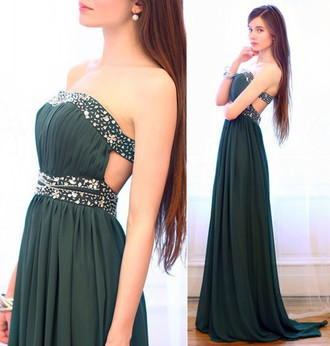 Custom Made A Line Strapless Prom Dresses Formal Dark Green Prom