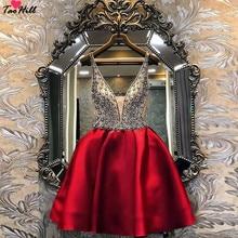 TaoHill коктейльные платья с длинными рукавами ТРАПЕЦИЕВИДНОЕ Короткое мини-платье с v-образным вырезом ручной работы с цветами вечерние размера плюс розовые платья для выпускного вечера