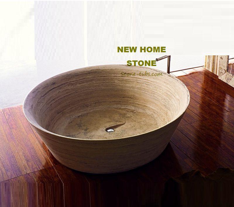 Travertine Round Bathtub Design Idea For Bathroom Luxury