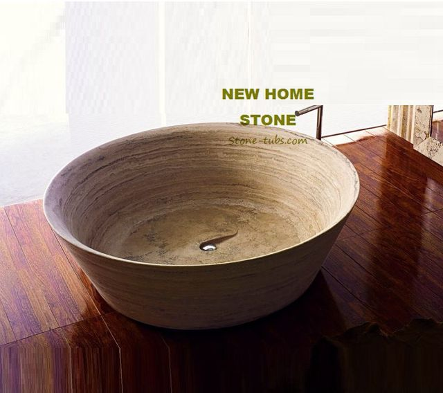 Travertine round bathtub design idea for bathroom luxury ...
