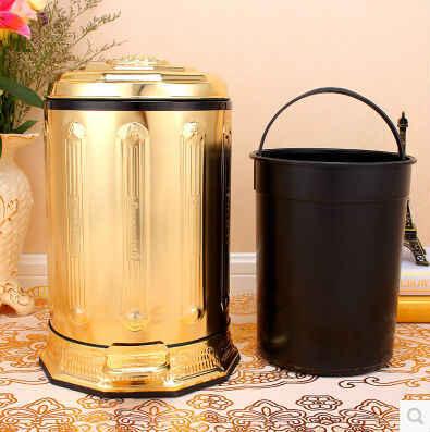 Pé em aço inox pedal de luxo europeu-ouro pated caixotes do lixo de metal lixo pode desperdiçar bin lixeira LJT010