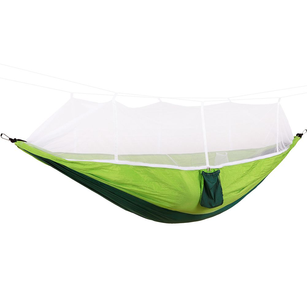 Portable High Strength Parachute Fabric Camping Hammock Hanging Bed With Mosquito Net Sleeping Hammock цена