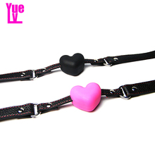 YUELV Silicone Heart Shaped Ball Gag Open Mouth Gag Ball Adult Game Fetish Slave Bondage Restraints Gag Sex Toys For Couples