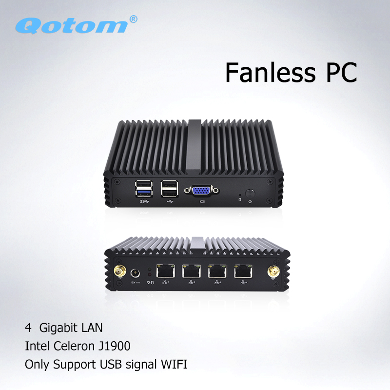 Qotom Mini PC Computer With Baytrail J1900 X86 Mini Desktop PC Pfsense Firewall Fanless PC 4 LAN Q190G4N