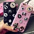 Acessórios de diamante de couro da moda tecido padrão rígido phone case capa para iphone 7 6 6 s plus 5 5S se samsung galaxy s6 s7 edge