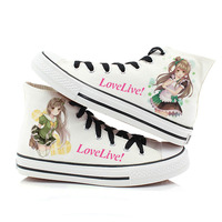 Japan Anime Love Live Sunshine Cosplay Shoes Takami Chika Girls Canvas Shoes Lovelive School Uniform Hand painted Shoes A51203