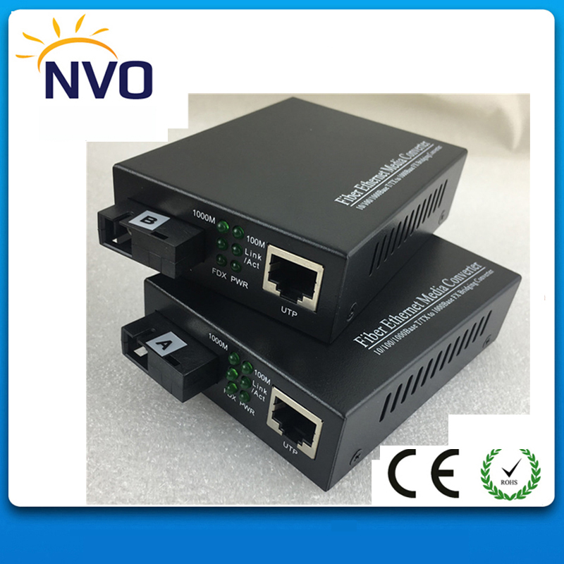 10/100/1000M Single Fiber,SM,20KM,SC,External Power Supply,Euro Charger,Gigabit Ethernet Fiber Media Converter
