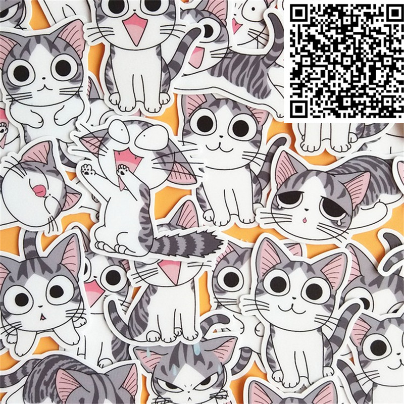 32 Pcs Lazy Cat Sells Cartoon Stickers For  Phone Decorative Waterproof Sticker Scrapbooking For Laptop Children