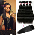 Grade 8A Peruvian Virgin Hair With Closure 4 Bundles Straight Hair With Closure Queen Hair Products With Closure Bundle HC Hair