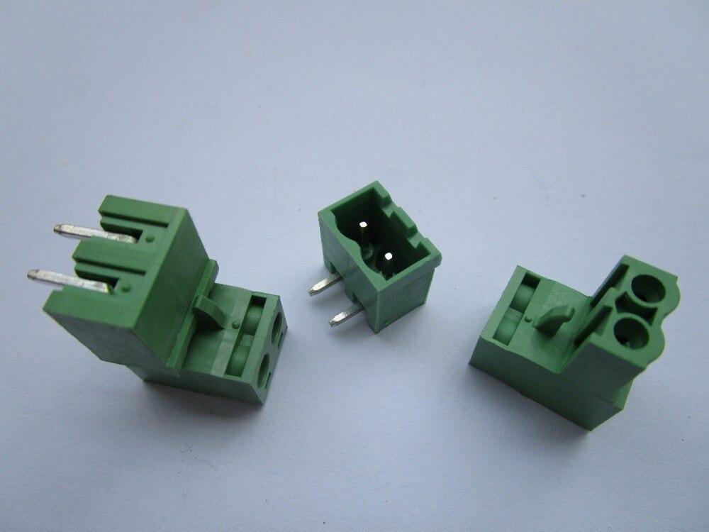 Закрыть угол 2 Pin/Way шаг 5.08 мм Клеммная колодка Разъем зеленый цвет сменный Тип с угловой 15 шт. в партии