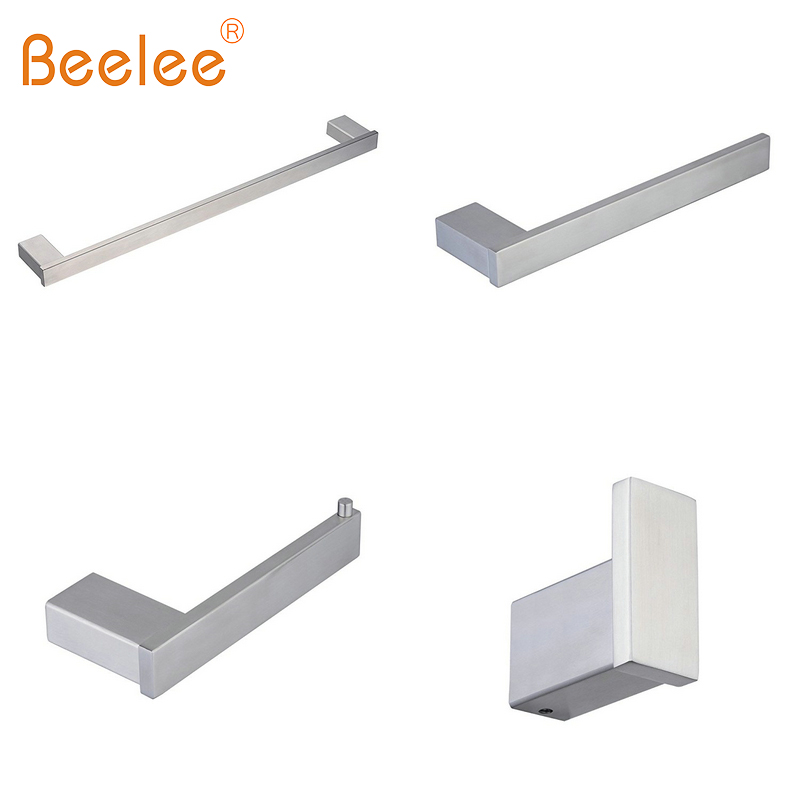 Beelee 4-Piece Bathroom Accessor Set With 23 Towel Bar,Towel Hook,Towel Rack,Toilet Paper Holder,Chrome