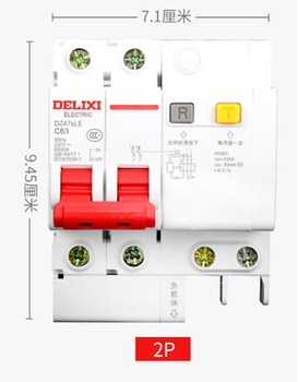 DZ47sLE 2P 6A 10A 16A 20A 25A 32A current Circuit breaker with over current and Leakage protection, air break switch