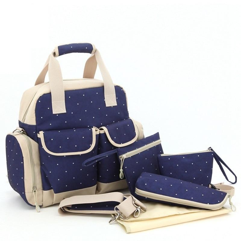 ФОТО 2016 Fashion Baby Diaper Bags Ploka Dot Printed Baby Nappy Bag Multifunctional Baby Care Backpack Diaper Bag Diaper Bag Sets